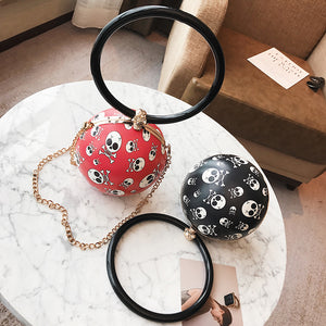 Round Skull Pattern Chain Crossbody Bag