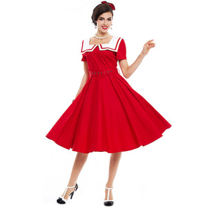 Vintage Red Dress in Sailor Collar