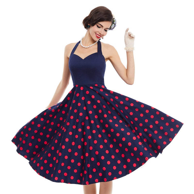 1950s Vintage Red Polka Dots Rockabilly Dress