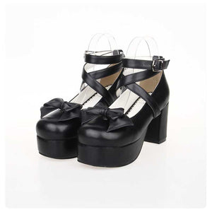 Vintage Black Cosplay Platform Maid Shoes