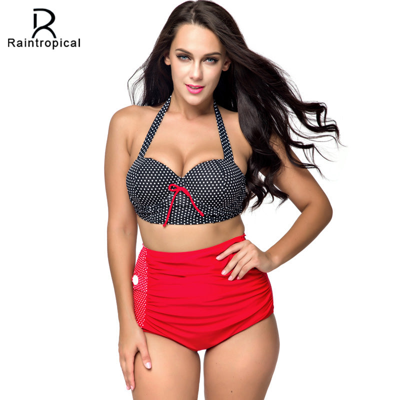 Plus Size Red and Black High Waist Retro Swimwear