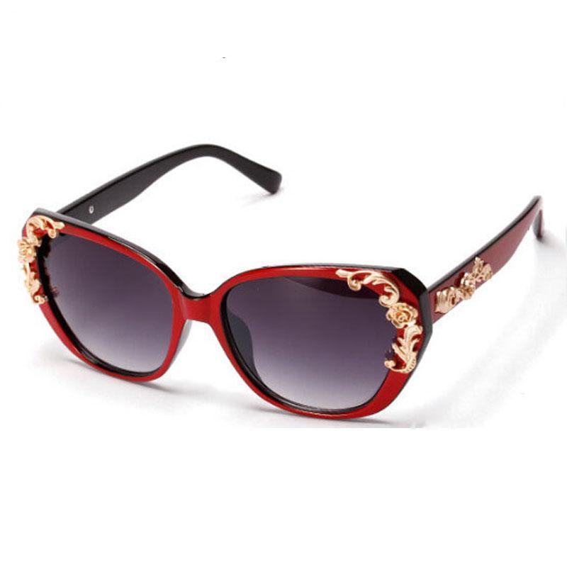 Vintage Flower Retro Cat Eye Carved Sunglasses