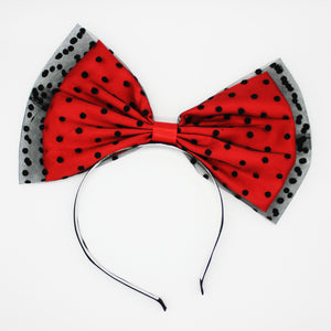 Red Polka Dots Spotty Hair Bow Vintage 50's Style Headband
