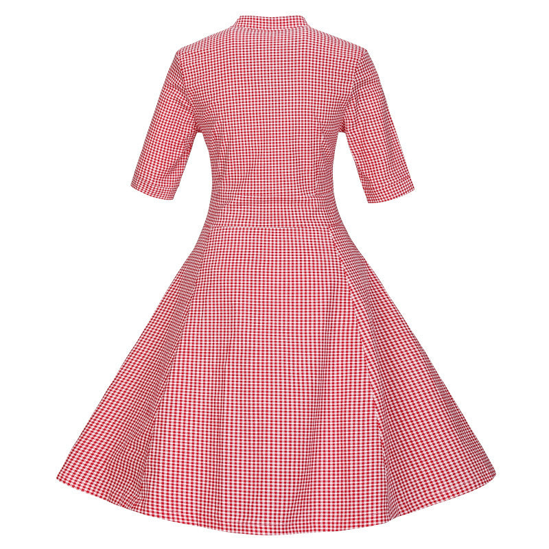 Red Retro Striped Shirt Dress Spring Women Long Swing Casual Cotton Dress Bodycon Rockabilly Vestido De Festa Z3DD51