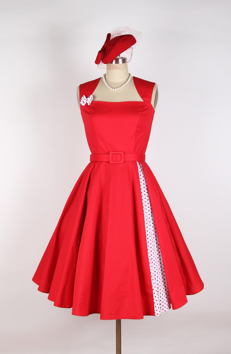 Red Rose with Polka Dot Audrey Hepburn Style Dress