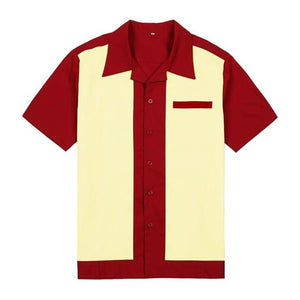 Red Cream Rockabilly Rockabilly Style Men's Casual Shirts