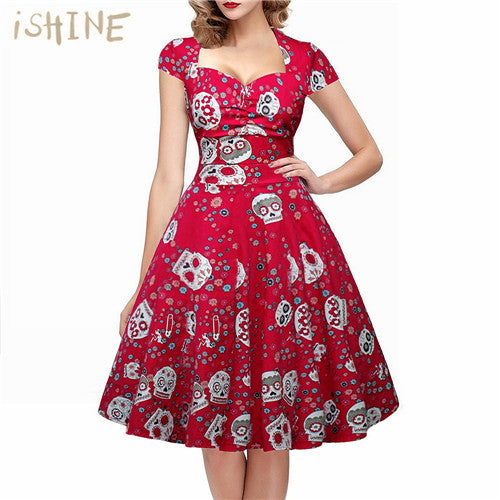 Retro Skull Print Swing Dress