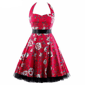 Womens Vintage Audrey Hephurn Halter 50s Swing Rockabilly Dress and Belt