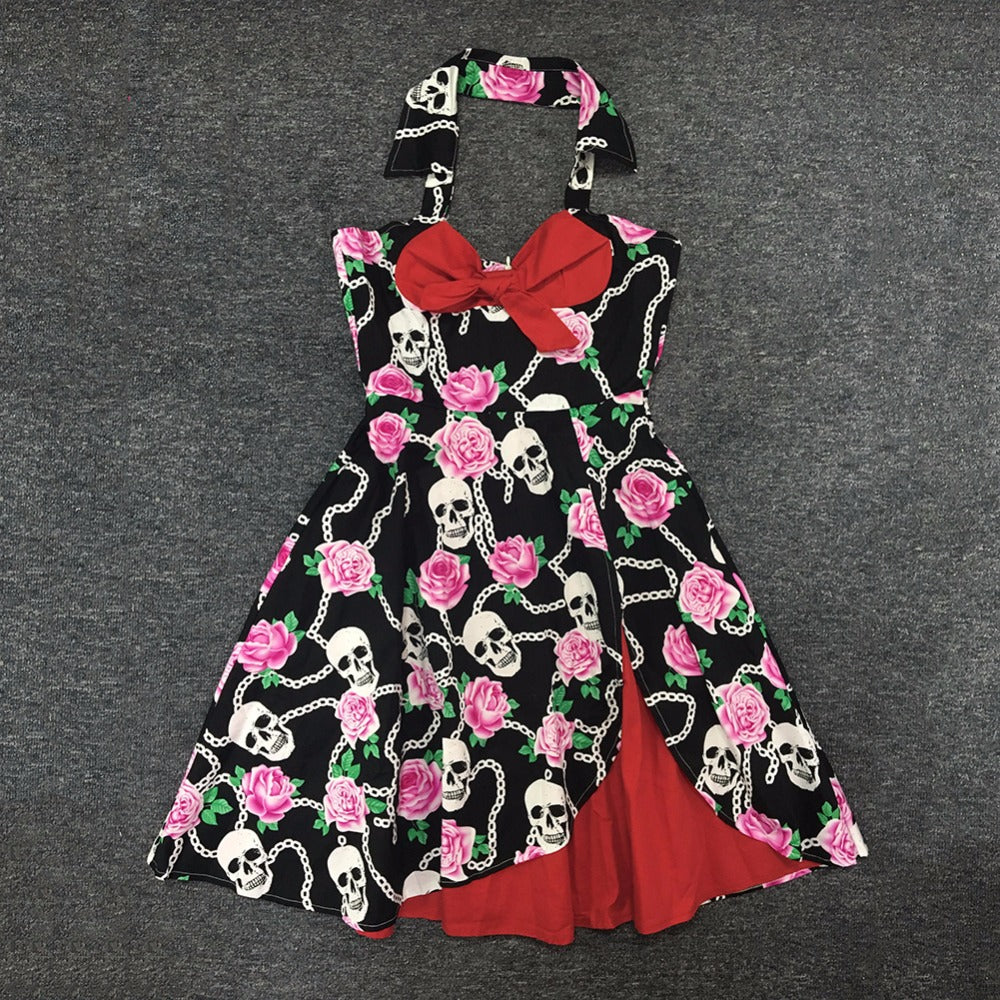 Womens 1950's Vintage Rockabilly Halter Spagetti Strap Skull Dress
