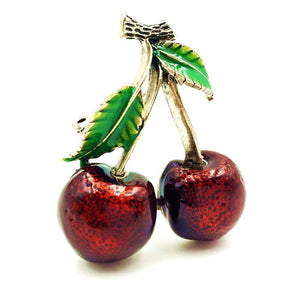 Rockabilly Jewelry Vintage Red Cherry Brooches Gold Tone Green Enameled Leaves Double Deep Red Cherries Pins Fruit Jewelry