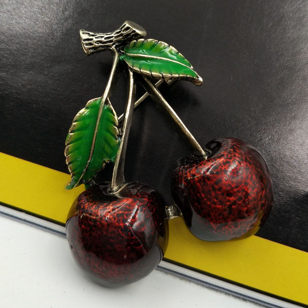 Vintage Red Cherry Brooch Rockabilly Jewelry