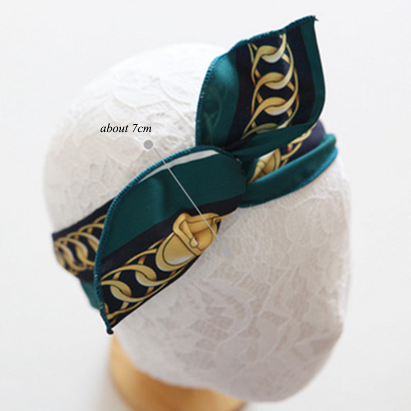 Rockabilly Pinup Headband Ladies Wire Dolly Bow Chain Print Headscarf Fashion Hair Accessories for Women