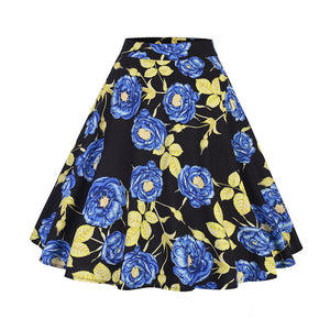 Flower Prints Rockabilly Vintage Retro Elegant Skirt