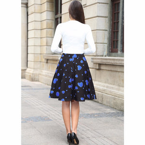 Black Rockabilly Skirt with Hearts Print