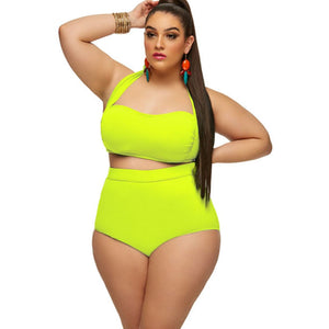 Plus Size Plain Color High Waist Bikini Set