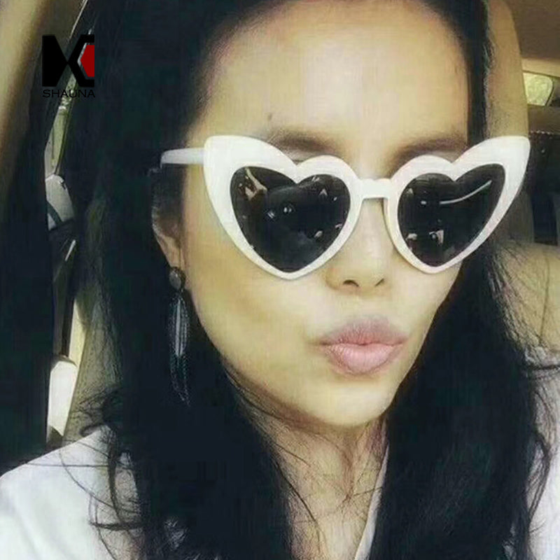 Metal Hinge Heart Shape Women Cat Eye Sunglasses