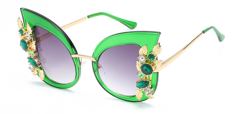 Oversize Luxury Crystal Decoration Women Cat Eye Sunglasses