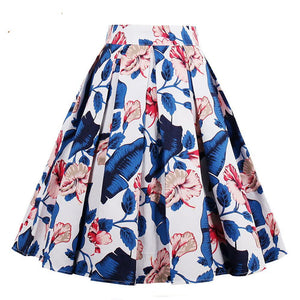 Blue Floral Vintage Retro High Waist Skirt