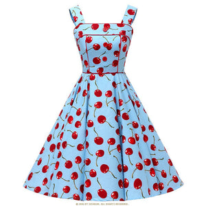 Cotton Cherry Print Vintage Style Dress