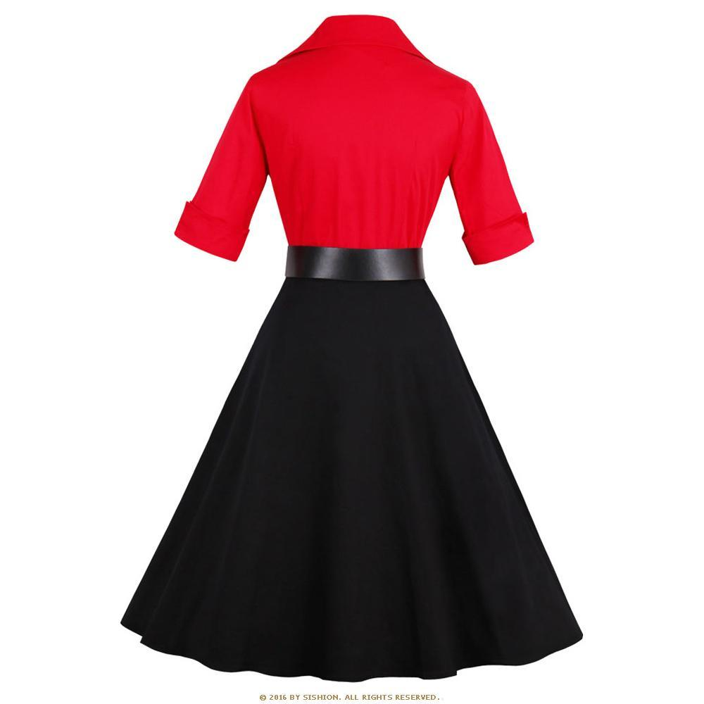 Black and Red Vintage Rockabilly Patchwork Party Dress