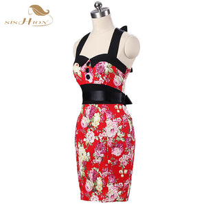 Vintage Flower Pattern Pencil Dress