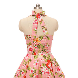 Halter Floral Print Retro Chic Swing Dress