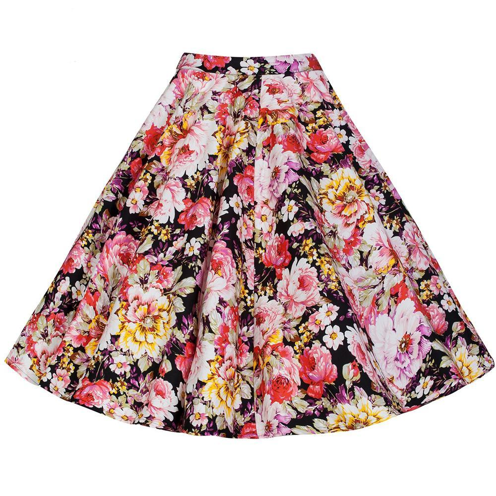 1960s High Waist Pin up Floral Print Rockabilly Swing Skirt