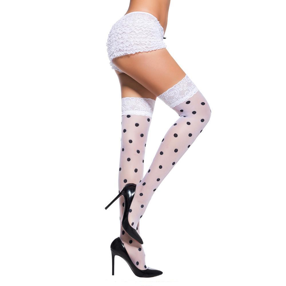 Sexy Polka Dot Lace Top Sheer Thigh High Stockings