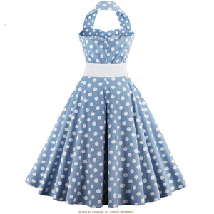 Womens Halter Polka Dot 50s Rockabilly Vintage Dress