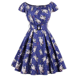 Short Sleeve Swing Rockabilly Cats Dress Vintage Clothing in Blue