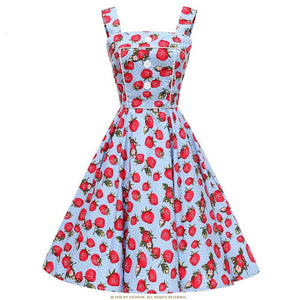 Vintage Rockabilly Floral Womens Audrey Hepburn Dress in Strawberry and Cherry