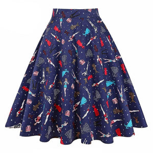 Royal Blue Ladies Print Rockabilly Skirt