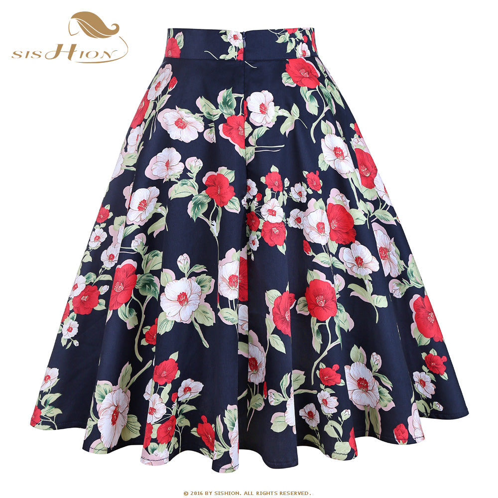 Royal Blue Flower Print High Waist Skirt