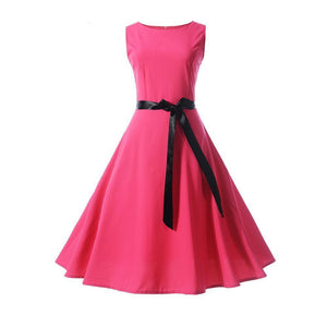 Womens Retro 50s Rockabilly Chiffon Pinup Swing Dress + Belt