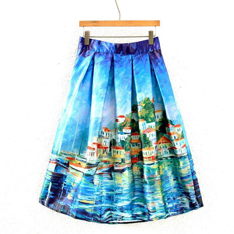 Vintage Oil Painting 3D Digital Print High Waist Pleated Skirt