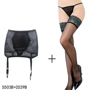 Sexy Black Vintage Garter with Stockings
