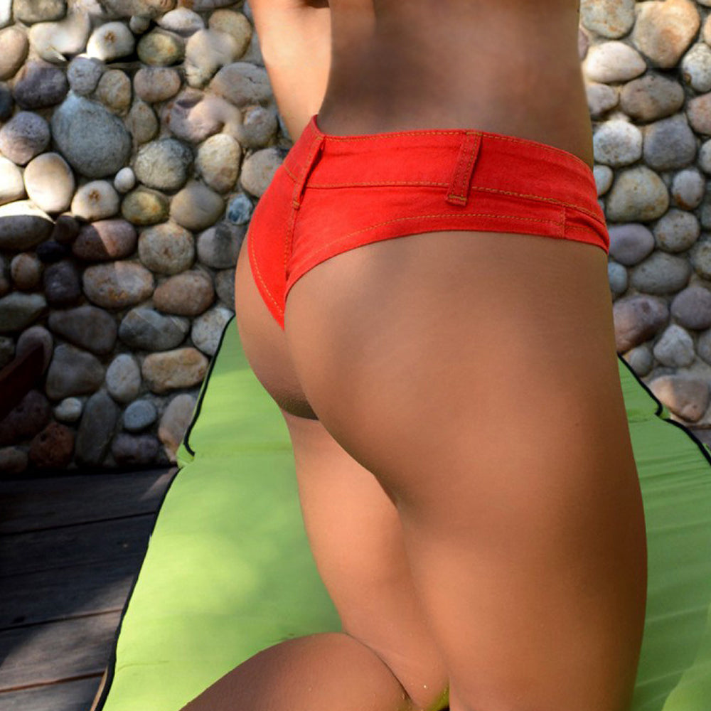 Orange Sexy Booty Denim Bikini Short