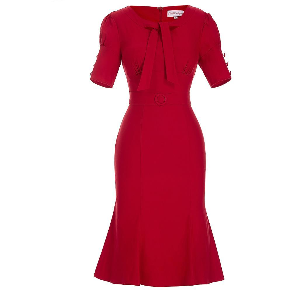 Red Cotton Sheath Bodycon Wiggle Midi Dress