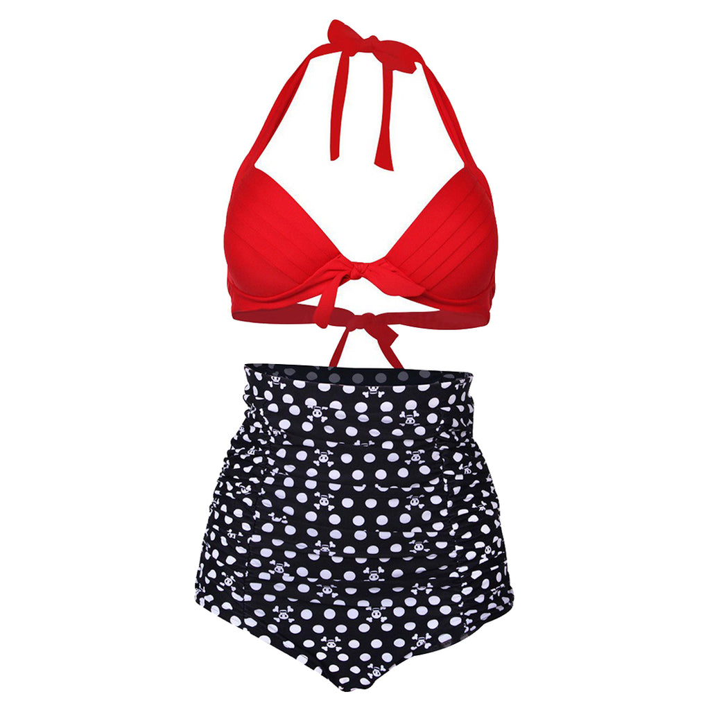 Retro Padded High Waist Halter Bikini with Cute Skulls and Red Top