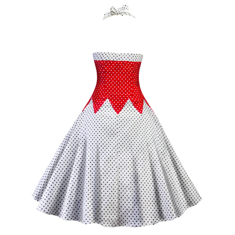 1960s Halter Neck in Dotted Vintage Swing Dress