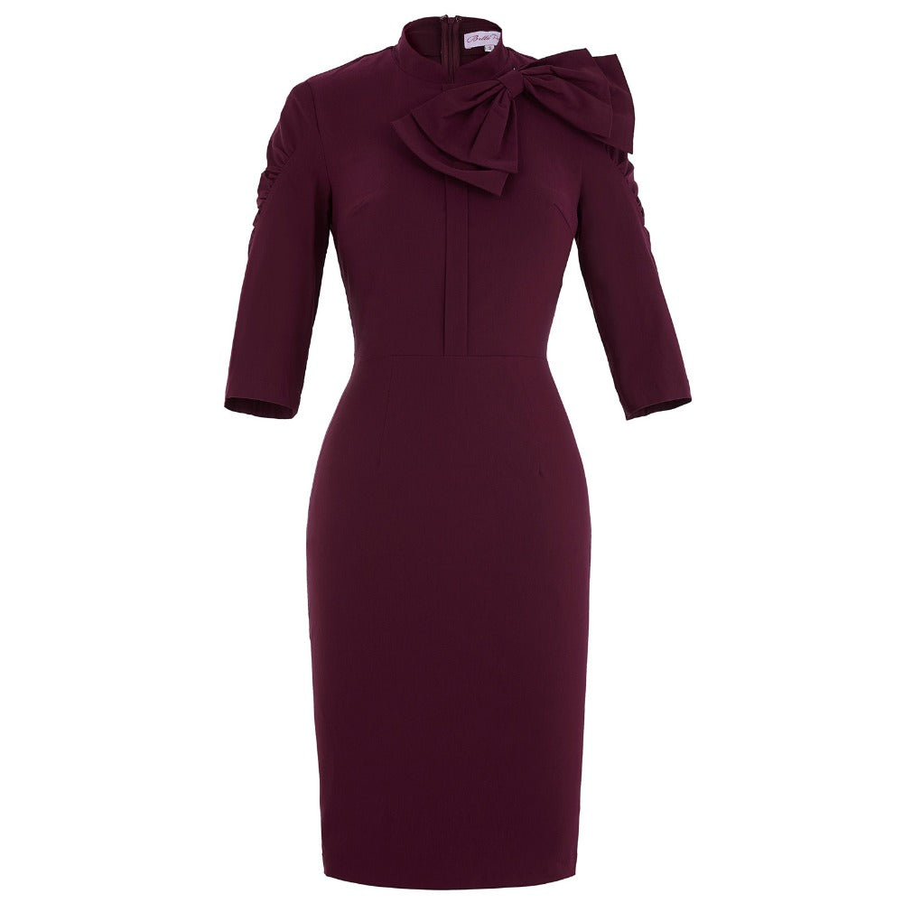 Sexy Sheath Bodycon Wiggle Pencil Dress in Turtle Neck