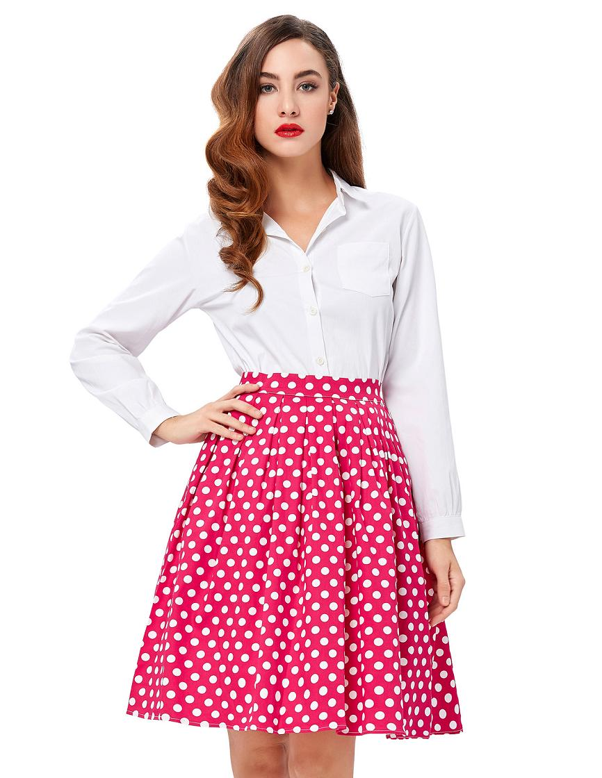 Cotton Skater Office Pleated Midi  High Waist Skirt
