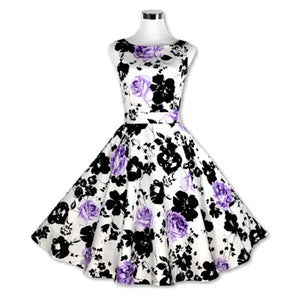 1950s Floral Pattern Rockabilly Sleeveless Pin Up Dress