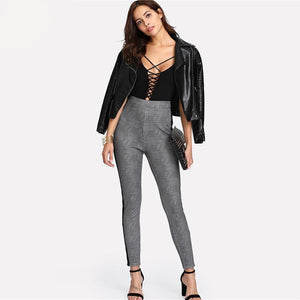 Contrast Tape Side Plaid Pencil Pants