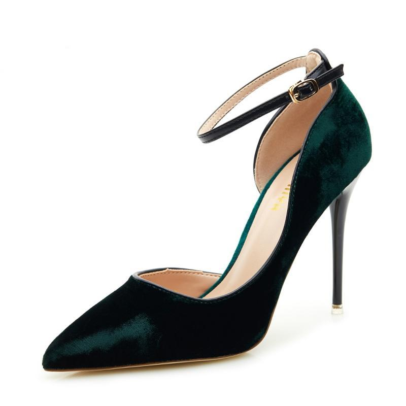 Velvet Super High Heel Ankle Strap