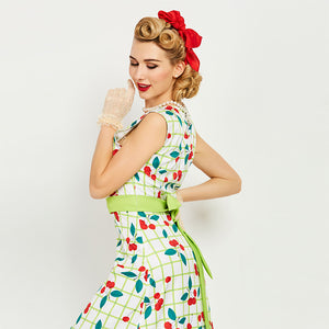 Womens Bodycon Sleeveless O-Neck Pin Up Dress with Cherries and a Green Sash