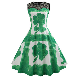 1950s Vintage Shamrock Rockabilly Audrey Hepburn Dress