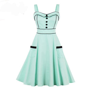 1950s Vintage Elegant Light Green Dress