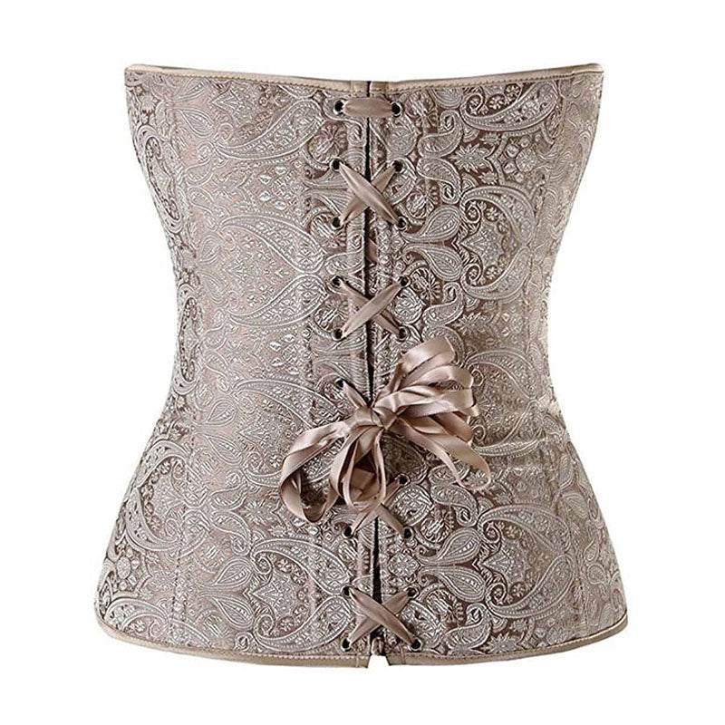 Vintage Floral Patchwork Lace Up Corset