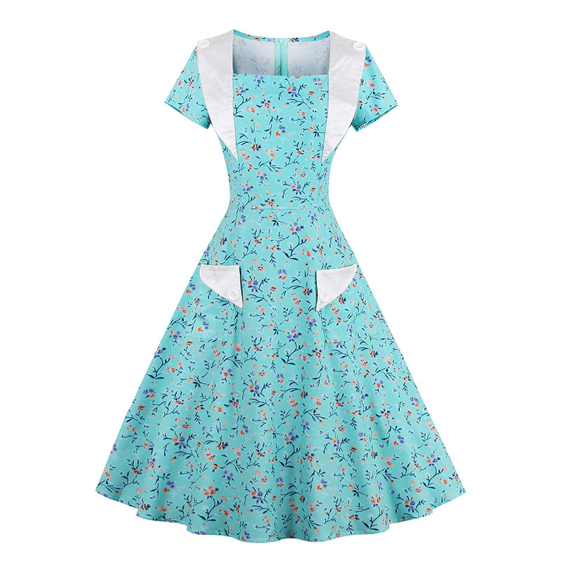 Vintage 1950s Mid Calf Turquoise Womens Short Sleeve Print Dress